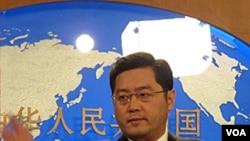 Juru Bicara Deplu Tiongkok Qin Gang dalam konferensi pers di Beijing.