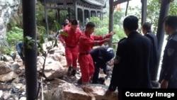 台湾旅行团在湖北遇土石流事故现场(宜昌市政府提供)