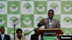 Chief Electoral Officer of Kenya's Independent Electoral and Boundaries Commission (IEBC) Ezra Chiloba speaks during a news conference ahead of the announcement of the winner of polls in Kenya's election at the Bomas of Kenya, in Nairobi, Kenya, Aug. 11,