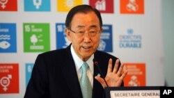 Tổng thư ký Liên Hiệp Quốc Ban Ki-moon phát biểu trong buổi họp báo tại Tunis, Tunisia, ngày 29 tháng 3 năm 2016.