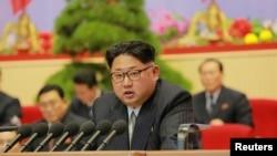 평양 4·25문화회관에서 열린 제7차 북한 노동당 대회에서 김정은 북한 국방위원회 제1위원장이 발언하는 모습을 조선중앙통신이 10일 보도했다.