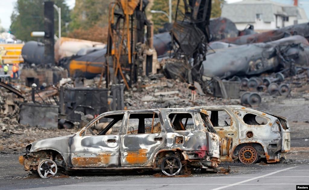 Lokasi ledakan tangki minyak di lac megantic, quebec, kanada (9/7
