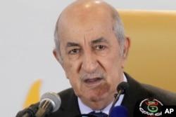 FILE - Algerian President Abdelmadjid Tebboune speaks during a press conference, Dec.13, 2019, in Algiers.