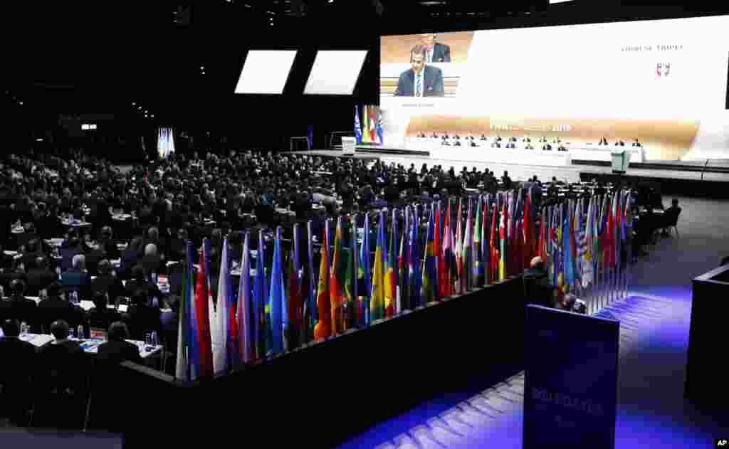 Les délégués se réunissent lors du congrès à Zurich, le 26 février 2016