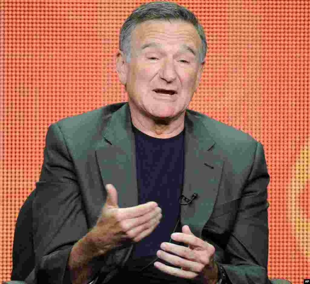 "Actor Robin Williams participates in the ""The Crazy Ones"" panel at the 2013 CBS Summer TCA Press Tour at the Beverly Hilton Hotel in Beverly Hills, California, July 29, 2013."
