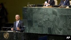 바락 오바마 미국 대통령이 24일 유엔 총회에서 연설하고 있다.