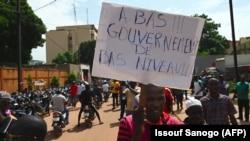 Manifestation organisée par le syndicat UAS pour demander de meilleures mesures de sécurité contre le terrorisme, à Ouagadougou au Burkina Faso le 16 septembre 2019.