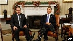 백악관에서 회담하는 오바마 대통령(우)과 말리키 총리