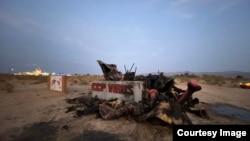 加州自由雕塑公園的《中共病毒》雕像遭燒毀 (推特圖片/趙昕提供)
