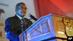 South African President Jacob Zuma speaks near Pretoria, April 4, 2017.