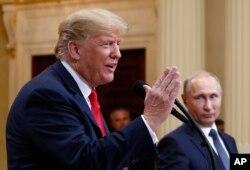 지난 7월 도널드 트럼프 미국 대통령과 블라디미르 푸틴 러시아 대통령이 헬싱키 정상회담에 이어 공동기자회견에 참석했다.