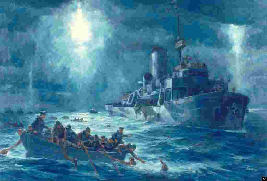A painting of the rescue of USAT Dorchester survivors in February 1943 in the North Atlantic Ocean. The Dorchester is best remembered today for the four Chaplains who died because they gave up their life jackets to save others. (US Coast Guard image)
