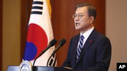 南韓總統文在寅7日在青瓦台發表新年演說。