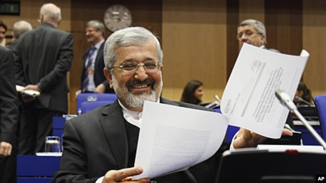 Iranian ambassador to the IAEA, Ali Asghar Soltanieh, at board of governors meeting, Vienna, Nov. 18, 2011.