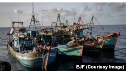 FILE PHOTO - These Vietnamese vessels were detained while illegally fishing in the Gulf of Thailand, 2019. (Photo courtesy of Environmental Justice Foundation)