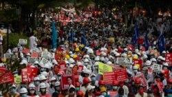 စစ်အာဏာသိမ်းမှု ဝိုင်းဝန်းဆန့်ကျင်ဖို့ တရုတ်၊ ရုရှားနဲ့ ထိုင်းတို့ကို တိုင်းရင်းဆန္ဒပြသူတွေတောင်းဆို
