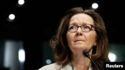 FILE - CIA Director Gina Haspel testifies at her Senate Intelligence Committee confirmation hearing on Capitol Hill in Washington, May 9, 2018.