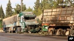 시리아 알레포에서 구호물품을 실은 차량들이 공격을 받아 파괴된 사진을, 반군 성향 언론사 '알레포24'가 공개했다.