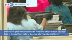 VOA60 Ameerikaa - Democratic presidential candidate Joe Biden officially took a narrow lead in the state of Georgia