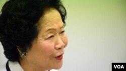 前香港政務司司長陳方安生表示,7-1大遊行能否向港府施壓重啟政改討論,要視乎參加的人數。(美國之音湯惠芸攝)