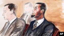 Sketsa pengadilan menunjukkan Tairod Nathan Webster Pugh (kanan) dalam sidang di Brooklyn, New York (24/2).