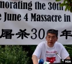 前天安门学生运动领袖郑旭光(美国之音萧雨拍摄)