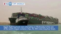 VOA60 World - Massive Cargo Ship Turns Sideways, Blocks Egypt's Suez Canal
