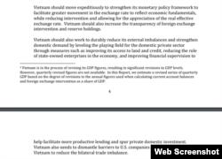 Khuyến nghị của Bộ Tài chính Hoa Kỳ đối với Việt Nam. Trích báo cáo 12/2020 của Bộ Tài chính Hoa Kỳ.