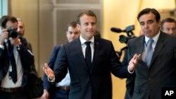 Emmanuel Macron arrivant au mini-sommet de l'UE à Bruxelles, Belgique, le 24 juin 2018.