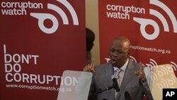 南非司法部長1月26日出席反腐觀察成立儀式,向媒體講話