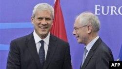 Predsednik Srbije Boris Tadić i predsednik Evropskog saveta, Herman van Rompuj u Briselu, 6. jun 2011.
