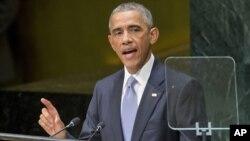 Tổng thống Hoa Kỳ Barack Obama nói chuyện trong phiên họp Đại hội đồng Liên hiệp quốc về việc thành lập liên minh để triệt hạ 'mạng lưới tử thần', 24/9/14