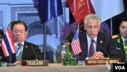US Defense Secretary Chuck Hagel at the ASEAN meeting in Brunei, Aug. 28, 2013.