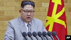 김정은 북한 국무위원장의 1일 신년사 연설 장면을 관영 조선중앙통신이 공개했다.