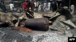 지난 12일 나이지리아 북동부 콘두가에서 발생한 방화 사건 현장.