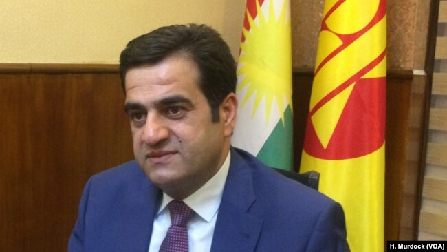 Ari Nanakali, a senior member of the ruling Kurdistan Democratic Party, says he believes an independent Kurdistan will be able to maintain peace with Baghdad through negotiations, in Erbil, Kurdish Iraq, Sept. 5, 2017.