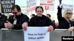 People demonstrate against Iceland's Prime Minister Sigmundur Gunnlaugsson in Reykjavik, Iceland on April 4, 2016 after a leak of documents by so-called Panama Papers stoked anger over his wife owning a tax haven-based company.