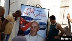 古巴张贴迎接罗马天主教宗方济各访问的图片