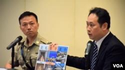 香港海關有組織罪案調查科總監溫慶全(右) (美國之音特約記者 湯惠芸拍攝)
