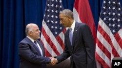 제 69차 유엔총회 참석 차 뉴욕을 방문한 하이데르 알 아바디 이라크 총리(왼쪽)가 24일 바락 오바마 미국 대통령과 면담했다.
