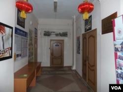 托木斯克大学孔子学院的办公室。(美国之音白桦拍摄)