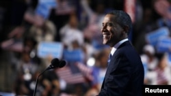 U.S. President Barack Obama acknowledges applause while addressing the final session of the Democratic National Convention in Charlotte, North Carolina September 6, 2012. REUTERS/Jessica Rinaldi (UNITED STATES - Tags: POLITICS ELECTIONS)