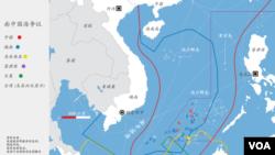 各国南中国海主权要求范围示意图