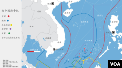 各國南中國海主權要求範圍示意圖