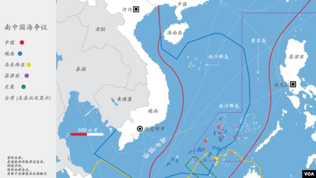 各國南中國海主權聲索示意圖(含南沙群島)