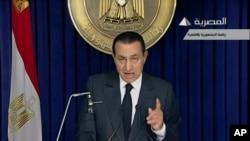 Bivši egipatski predsednik Hosni Mubarak tokom obraćanja naciji na televiziji 10. februara 2011.
