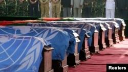 Deuil des casques bleus bangladais tués en RDC, à Dhaka, Bengladesh, 1er mars 2005.