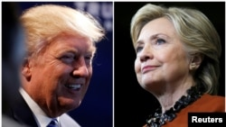A combination photo shows U.S. Republican presidential nominee Donald Trump (L) at a campaign event, Oct. 26, 2016 and U.S. Democratic presidential candidate Hillary Clinton during a campaign rally, Oct. 27, 2016.