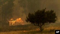 Lửa thiêu rụi một kiến trúc nhà trong đám cháy rừng ngày 15 tháng 5 ở Escondido, California.