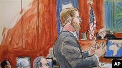 纽约曼哈顿的联邦法院审判盖拉尼(左一)